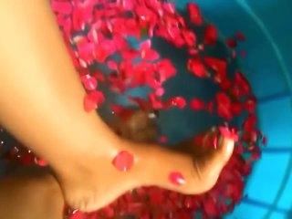 Indian mistress feet washing HD