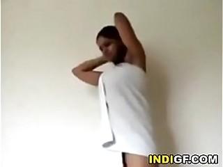 Desi sister gives me a little show after shower