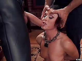 Brunette MILF India Summer in black lingerie is whipped by James Mogul while sucking huge cock to gimp Owen Gray then vibrated while anal fucking at threesome slave training