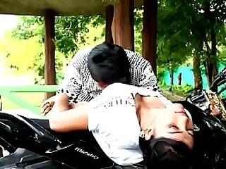 Indian Teen girl hot kissing on motorbike