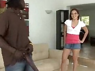 Skinny latina playing with black monster cock