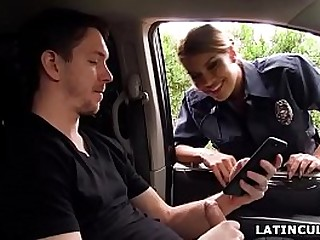 Latina officer caught on a guy jerking off in his car! - Mercedes Carrera
