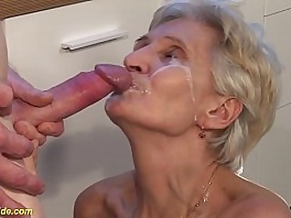 hairy bush 83 years old big boob granny enjoys rough big cock kitchen sex by her stepson